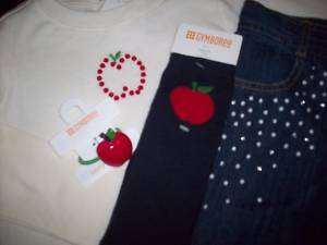 NWT Gymboree PREP SCHOOL Polka Dot Blue Jeans, Apple Shirt Top