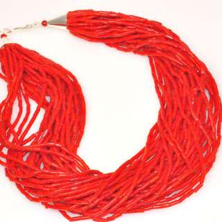 Sterling Silver 30 Strand Real RED CORAL Bead Necklace