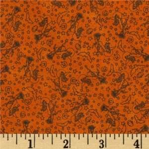 44 Wide Scary Night II Textural Orange Fabric By The
