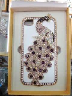 White leather Luxury Pink Peacock Rhinestone Case Cover for iPhone 4