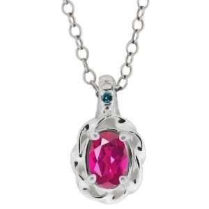 0.51 Ct Pink Oval Tourmaline and Blue Diamond Argentium