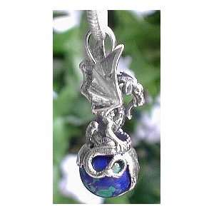 Kingdom of the Earth Dragon on World Azurite Gemstone Sterling Silver