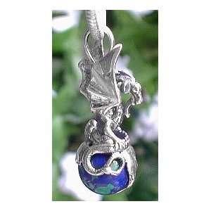 Kingdom of the Earth Dragon on World Azurite Gemstone Sterling Silver