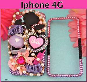 BARBIE PINK CRYSTAL IPHONE 4G BLING CASE 3d COVER #19