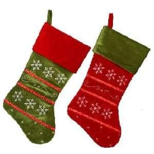 Set of 2 Velvet Snowflake Christmas Stockings with Ribbon