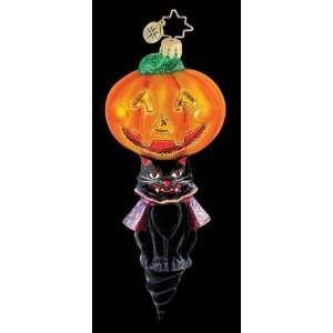 RADKO HOOT N HOWL Black Cat Halloween Pumpkin Ornament