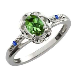 0.42 Ct Oval Green Tourmaline Blue Sapphire 14K White Gold