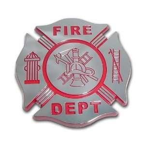 Fire Department Firefighter Maltese Cross Premium Red & Chrome Plated