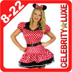 New Minnie Mickey Mouse Ladies Fancy Dress Up Costume