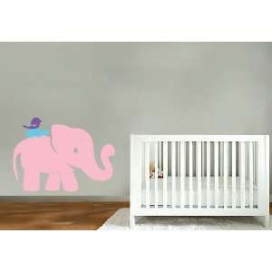 kids vinyl wall decal Elephant with turtle and bird on his