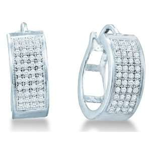 925 Sterling Silver Plated in White Gold Rhodium Micro Pave Set Round
