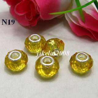 Faceted Crystal Glass Charm Beads European Fit Bracelet PDN 12 Colors