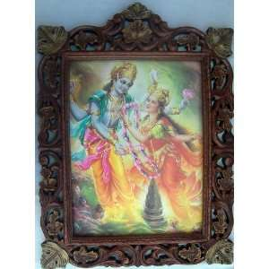 Lord Krishna accepting Garland from Radha poster painting