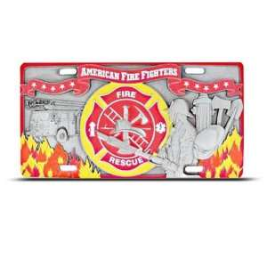 Fire Rescue 3D Metal Pewter Heavy Duty License Plate Wall Sign Tag