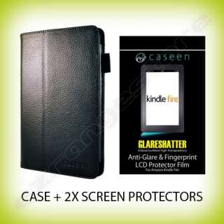 Leather Case Cover + 2x Screen Protectors for  Kindle Fire