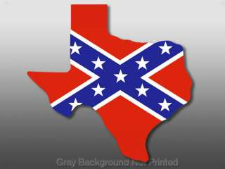 Texas Shaped Confederate Flag Sticker  decal rebel flag