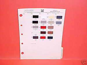1986 ISUZU IMPULSE TURBO COUPE PAINT CHIPS COLOR CHART