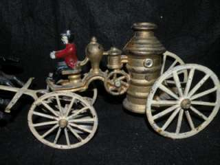 VINTAGE CAST IRON FIRE PUMP HORSE DRAWN TOY WAGON
