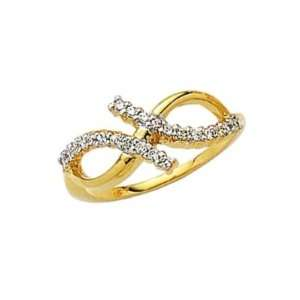 Ladies 18K Gold Plated Clear Cubic Zirconia Two Color Fine