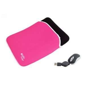 Black & Pink Reversible 16 Neoprene Laptop Case With USB Mini