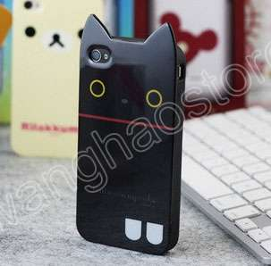 Cat TPU back Case Cover screen Protector iPhone 4 4G 4S