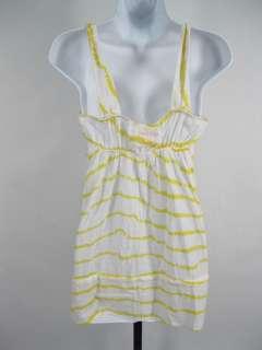 FREE PEOPLE Yellow White Striped Tank Top Shirt Size 4
