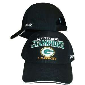Packers Black 4X Super Bowl Champs / Champions Adjustable Velcro Hat