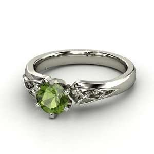 Fiona Ring, Round Green Tourmaline 14K White Gold Ring Jewelry