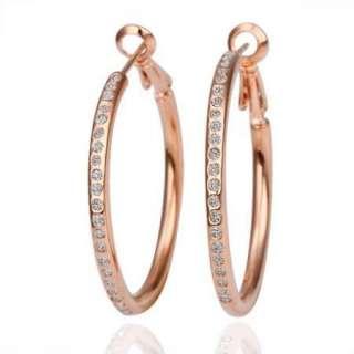 18K rose Gold Plated Swarovski Crystal big circle earrings E65