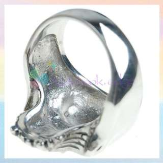 Gothic Silver Skull Mens Charm Ring Jewelry US Size 10