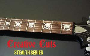 EVIL SKULL & CROSS BONES Vinyl Guitar Decal Inlay Set