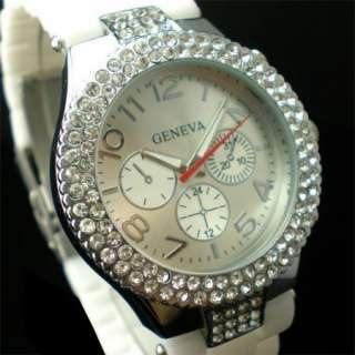 Elegant White Crystal Rhinestone Silicon Mens Lady Women Watch SALE