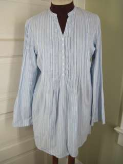 GARNET HILL Blue White Striped Mandarin Tunic Shirt 10