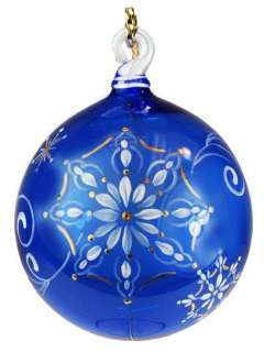 Fenton Hand Painted Glass Ornament in Cobalt Blue