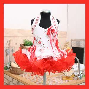 High Girls glitz pageant dress New size 1~10T Red Free