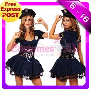 New Ladies Woman Navy Cop Police Uniform Party Fancy Dress Costume