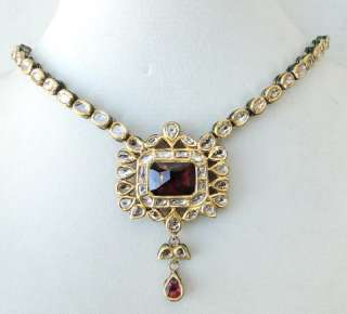 ANTIQUE 20 K GOLD DIAMOND KUNDAN ENAMEL WORK NECKLACE