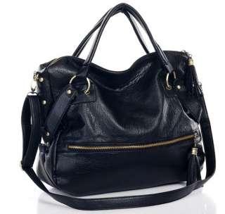 New Fashion Womens Tassels Big Leather Tote Handbag Shoulder Cross