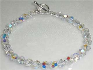 Crystal Aurora Borealis Bracelet Sterling Silver Made With Swarovski