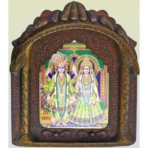 Lord Radha Krishna Wearing Elegant Traditional Dress, Religious Poster