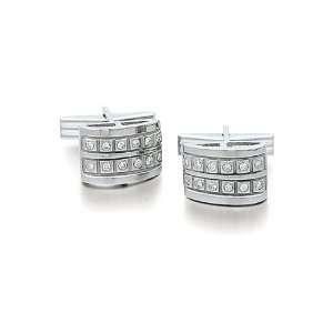14k White Gold and Diamond Inlay Cufflinks Solid 14k Gold Jewelry