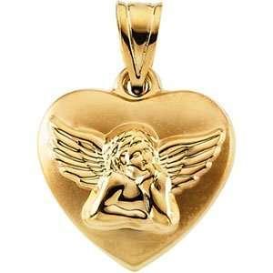 14k Yellow Gold Angel Heart Hollow Pendant 16.25 X 15.75mm