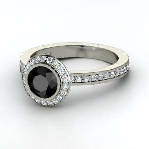 Roxanne Ring, Round Black Diamond Palladium Ring with