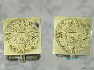 MEXICAN STERLING SILVER GOLD OVERLAY ENGRAVED MAYAN CALENDAR CUFFLINKS
