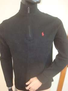 RALPH LAUREN MENS BLACK FRENCH RIB FLEECE HALF ZIP SWEATER SIZESMALL
