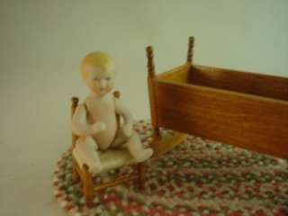 Rocking Cradle Antique Style, Child Chair   American Miniature Artist