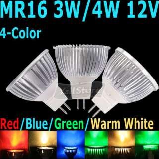4W 12V 4 Color LED Spotlight Light Lamp Bulb Red/Blue/Green/Warm White
