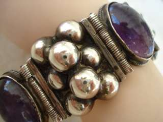 VINTAGE OLD WIDE MEXICO MEXICAN STERLING SILVER AMETHYST BEADS