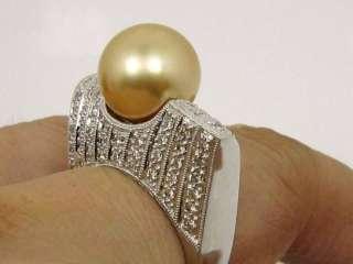 HEAVY 18K GOLD RING W/ DIAMOND & GOLDEN SOUTH SEA PEARL