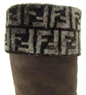 FENDI LOGO Espresso T. MORO Suede Womens Knee High Wedge Boots 7.5 EUR